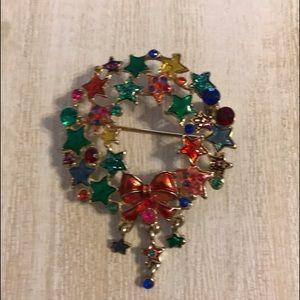 Christopher Radko Shiny Brite Wreath Pin